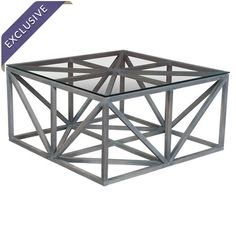Distinctive and daring, this glass-topped mahogany wood coffee table makes a stylish statement. Its openwork design evokes skyscraper scaffolding, while the ...