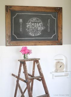 Learn how to make this gorgeous DIY Rustic Industrial Chalkboard for your home from LoveGrowsWild.com #diy #rustic #chalk