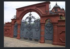 House Main Gates Design, Door Gate Design, House Design, Entry Gates, Entrance Doors, Grill Gate, Dotted Drawings, Grades, Driveway Gate
