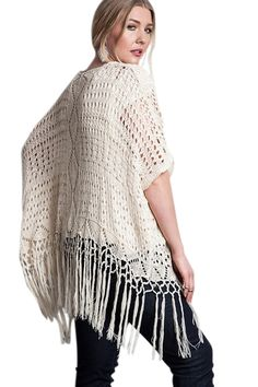 Plus Vintage Bohemian Soft Knit Crochet Fringe Kimono Cardigan