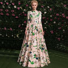 Aliexpress.com : Buy Top Fashion 2016 Spring&Fall Designer Runway Maxi Dress Women's 3/4 Sleeve Rose Floral Print Celebrity Cotton Long Dress from Reliable dress feminine suppliers on Lady Fashion Trading Company.