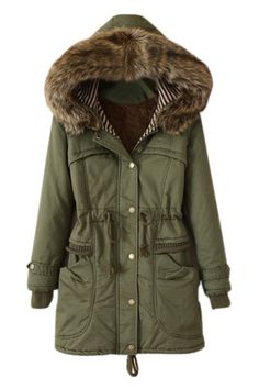 Army Green Hooded Drawstring Parka<br/><div class='zoom-vendor-name'>By <a href=http://www.ustrendy.com/pariscoming>ParisComing</a></div>