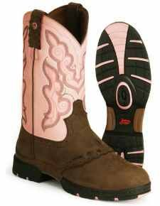 there is nothing like George Strait Justin boots for working outside.  Easy to clean up and waterproof.
