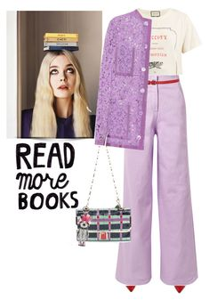 """no more books, more reading ; )"" by gabrielleleroy ❤ liked on Polyvore featuring Charlotte Olympia, Gucci, TIBI, P.A.R.O.S.H., Lanvin and MCM"