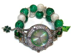 St Patricks Day Beaded Watch  Interchangeable Watch  by BeadsnTime