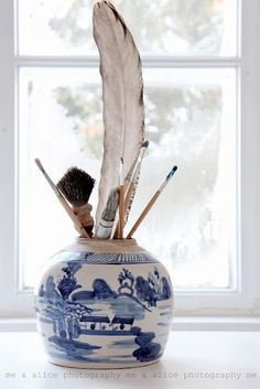 new way to use vintage blue and white~ ginger jar