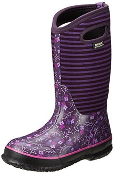 Mixed-patterned rain boot featuring four-way stretch inner bootie and rubber overlay  Moisture wicking lining  Dual pull-on straps