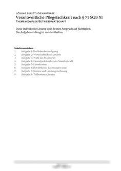 Einsendeaufgabe Modul 6 Themenkomplex Betriebswirtschaft - Verantwortliche Pflegefachkraft nach § 71 SGB XI -  Studienleistung Gesundheitswesen Personalized Items, Hamburger, Business Management, Content Page, Housekeeping, Public Health, Burgers