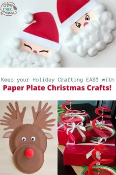 These paper plate Christmas crafts are the easiest holiday crafts for kids to make. Just grab a few paper plates, some red and green construction paper and paint and you have all you need for these easy paper plate crafts: Reindeer, Santa crafts, Snowman paper plate crafts - you name it! Christmas Arts And Crafts, Santa Crafts, Easy Arts And Crafts, Holiday Crafts For Kids, Preschool Christmas, Homemade Christmas Gifts, Crafts For Kids To Make, Arts And Crafts Projects, Gifts For Kids