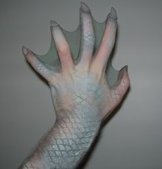 pantyhose on hands to simulate webbing...could use for Aqualad cosplay!