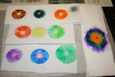 draw small circle on paper towel with water base marker, drop small drop of water in the center and watch it spread