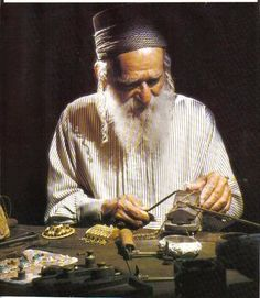 A Yemenite-Jewish silversmith works in Israel. The Yemenite Jews were/are known for being experts in metalworks and silversmithing. Their wo...