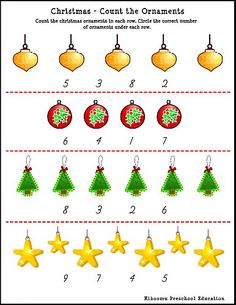Worksheets Preschool Christmas Worksheets christmas worksheets and on pinterest count the ornaments worksheet