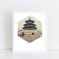 Spiritual Buddha Temple Art Print  Inspirational by deificusArt
