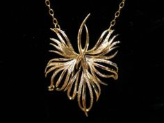 Vtg 50s Gold Autumn Leaf Brooch Recycled Necklace
