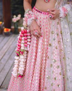 Baby pink gold Abhinav Mishra mirror work lehenga with floral jewellery. #Frugal2Fab
