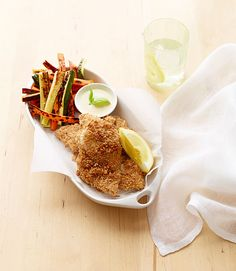 Panko breading gives these fish and chips a perfect crunch. Recipe: Crunchy Fish and Veggie Chips   - Delish.com