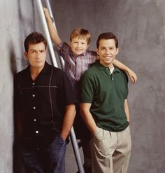 Charlie Sheen, Jon Cryer, and Angus T. Jones in Two and a Half Men Two And Half Men, Half Man, Charlie Sheen, High School Stereotypes, Single Parenthood, Jon Cryer, Men Tv, How High Are You, Funny Character