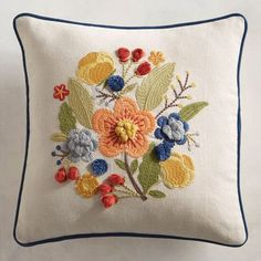 Discover unique patterned pillows and other decorative accent pillows at Pier 1 Imports. Shop an array of floral, striped, geometric, animal print and more today! Pillow Embroidery, Bird Embroidery, Embroidered Cushions, Fall Pillows, Floral Pillows, Decorative Throw Pillows, Hand Embroidery Design Patterns, Brazilian Embroidery, Designer Throw Pillows