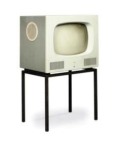 A HERBERT HIRCHE MODEL 'HF1' TELEVISION SET DESIGNED 1958 for Braun AG Frankfurt/Main, plastic, enamelled steel, perspex 36¼in. (92.3cm.) high