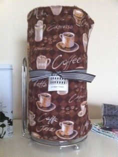 "Reusable ""paper"" Towel Set - This is the same fabric as my apron and would totally match my coffee themed kitchen!!! :-)"