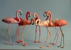 Flamingo Figurines, felt flamingo soft sculptures, flock of flamingos for your home decor. Pink Flamingos