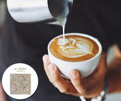 Coffee lovers, this one's for you – a table top to match your morning cup of Joe! Hardwearing, high-end Aurastone in Latte. Plant Based Nutrition, Nutrition Tips, Barista, Wiener Melange, Cat Drinking, Coffee Art, Nespresso, A Table, Whole Food Recipes
