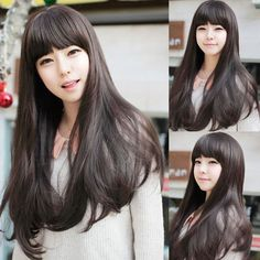 New Style Womens Girls Sexy Long Fashion Curly Full human Hair Wig+wigs cap gift