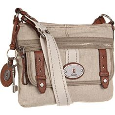 Fossil - Maddox Fabric Top Zip. Classic Handbag. Great for traveling and neutral color.