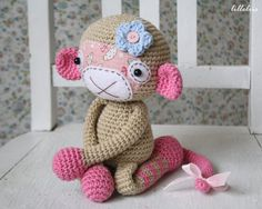 PATTERN Monkey girl crochet pattern amigurumi door lilleliis