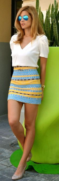 Summer Outfit With Tribal Skirt and White Crop Top.