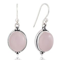 925 Oxidized Sterling Silver Pink Stone Oval Vintage Dangle Hook Earrings 13 ** Read more reviews of the product by visiting the link on the image.