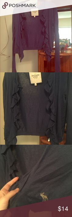 A&F navy blue ruffle sweater Navy blue ruffle sweater from Abercrombie and Fitch. Worn a few times. Good condition. Also selling in light grey Abercrombie & Fitch Sweaters Cardigans