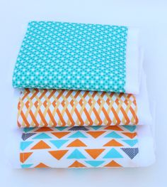 Gender Nuetral Baby Burp Cloths, Burp Cloth Set, Teal and Orange Burp Cloth Set, Burp Rags, Baby Burp Clothes, Baby Shower Gift, Set of 3 by UrbanAnneDesigns on Etsy