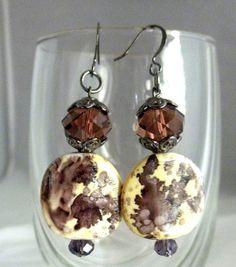 Splash of  Purple and Cream Dangle Earrings by TreasuresofJewels