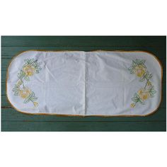 Embroidered Yellow Roses and Crochet Edging Runner  Large yellow roses and rose buds with green leaves bloom at each end of this wonderful hand