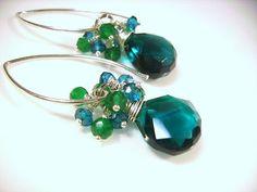 Pantone 2013Emerald Teal Quartz Blue Topaz Green Onyx Sterling by OBTPjewelry, $35.00