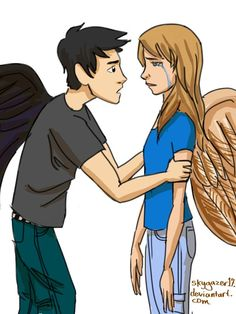 Fang and Max from Maximum Ride by James Patterson. Nudge: [link] It's going to be okay Maxium Ride, James Patterson, Couple Drawings, Book Fandoms, Ballet Dancers, Its Okay, Percy Jackson, Cartoon Drawings, Book Series