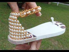 Linda sandália bordada em Perolas Super Fácil! Por Maguida Silva! - YouTube