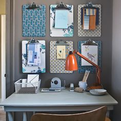 Love this idea of using wallpaper scraps on clipboards, then hanging them to act as an inspiration board/bulletin board.