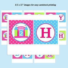 "This listing is for an adorable, personalized bounce castle ""Happy Birthday"" banner. The bounce castle has your child's name and age celebrating on it. You will receive an email with 8.5 x 11 image/"