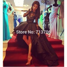 SML2119 2015 Special Occasion Appealing High Low Black Ball gown Taffeta short front long back Lace long sleeve prom dresses