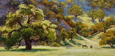 """$145 """"Tranquil Meadow""""  by Erin Dertner  Oil Giclée Reproduction ~ 11 x 22"""