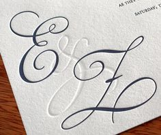 Utilizing blind impression within your wedding monogram is a great idea for letterpress wedding invitations.
