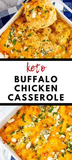 I fell in love with buffalo sauce years ago, and I'll take any chance I can to build a meal around it. Keto Buffalo Chicken Casserole combines my favorite flavors in the confines of one easy low carb dish. With chicken, cauliflower, cream cheese, cheddar cheese, blue cheese, and a subtle kick of heat, you have a meal that is creamy, cheesy, and so satisfying. #kickingcarbs #buffalochicken #ketocasseroles #keto Gluten Free Recipes For Breakfast, Gluten Free Dinner, Lunch Recipes, Low Carb Recipes, Dinner Recipes, Keto Dinner, Buffalo Chicken Casserole, Casserole Dishes, Keto Casserole