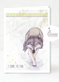 Wolf Klappkarte von Illusines Spielwiese auf DaWanda.com