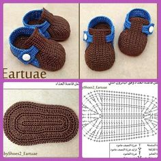 Zapatitos crocs parte 1 Crochet Fabric, Crochet Baby Shoes, Baby Hats, Slippers, Booty, Babys, Crocheting, How To Make, Kids