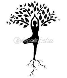 Silhueta de pose de árvore de ioga — Ilustração de Stock #59514501