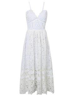 . . White Spaghetti Strap Crochet Lace Midi Dress | Choies . .