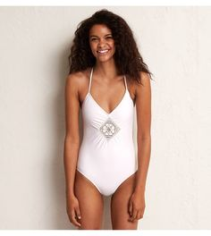 Soft Muslin Aerie Lace-Up One-Piece. Happily single? Suit yourself! #Aerie